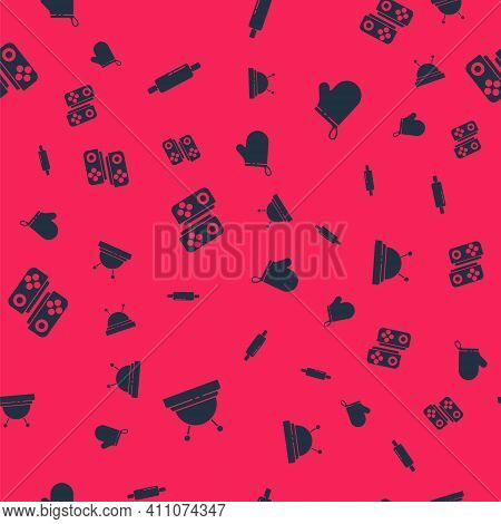 Set Needle Bed And Needles, Rolling Pin, Gamepad And Oven Glove On Seamless Pattern. Vector