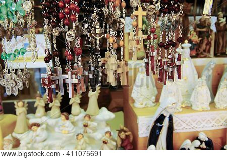 Christian Crosses As Religious Souvenirs, Devotional Objects In A Shop