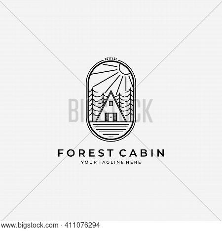 Line Art Forest Cabin Logo Vector Design Illustration Log House