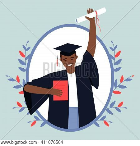 Happy African American Graduate From An Educational Institution. Close-up Of A Guy In A Black Dress
