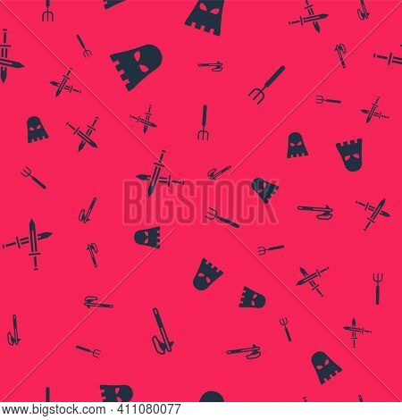 Set Medieval Axe, Executioner Mask, Crossed Medieval Sword And Garden Pitchfork On Seamless Pattern.