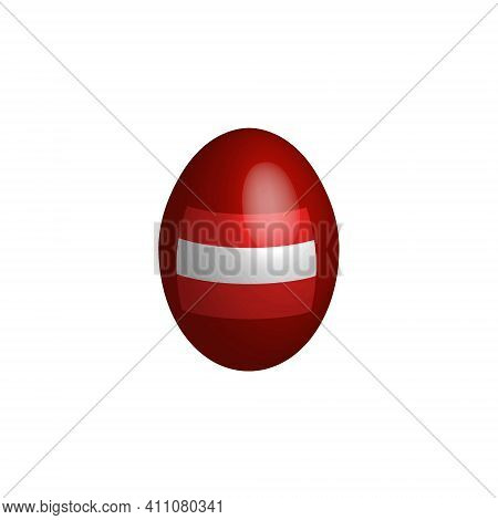 Easter Egg In The Colors Of The Austrian Flag.