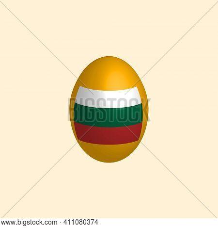 Easter Egg In The Colors Of The Bulgarian Flag. Flag Of Bulgaria. Easter Chicken Egg. Christian Reli