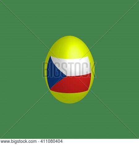 Easter Egg In The Colors Of The Czech Flag. Czech Republic Flag. Easter Chicken Egg. Christian Relig