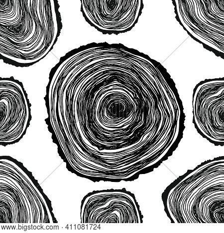 Cross-section Of A Tree Seamless Pattern Hand Draw. Tree Rings Hand Draw Seamless Vector Pattern. Sa