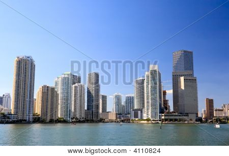 The high-rise buildings in downtown Miami Florida poster