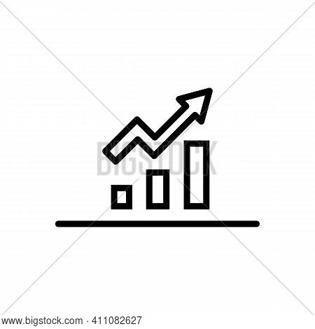 Growing Bars Graphic With Rising Arrow Line Icon In Black. Diagram Illustration. Organizational Char