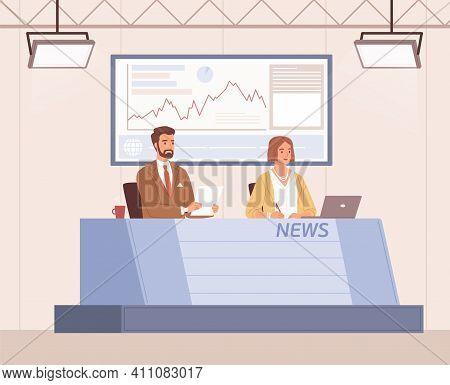 Scene With Anchorman And Anchorwoman Reporting Latest Business News In Tv Studio. Announcers Working