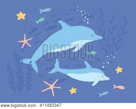 Underwater Life Of Two Cute Dolphins In Sea Or Ocean. Childish Marine Landscape Or Seascape With Lov