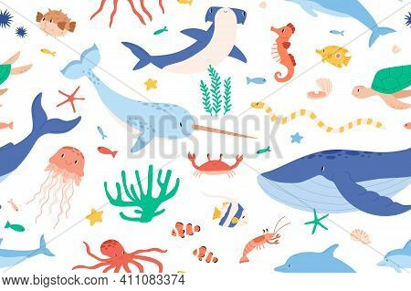 Childish Seamless Pattern With Sea And Ocean Animals On White Background. Cute Marine Underwater Fau