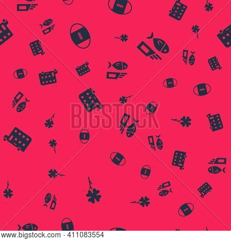 Set Four Leaf Clover, Rugby Ball, Double Decker Bus And Fish And Chips On Seamless Pattern. Vector