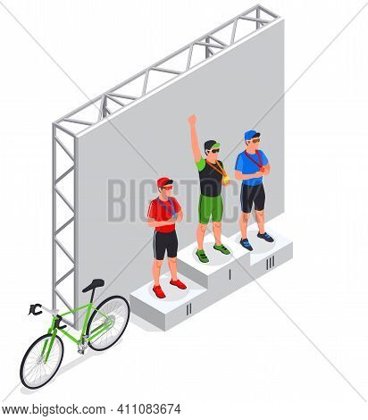 Sport Cycling Isometric Composition With View Of Stage With Winners Podium Bike Riders And Road Bicy