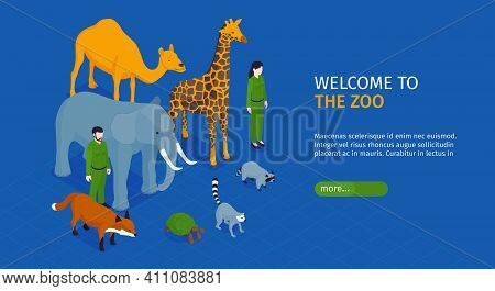 Isometric Zoo Horizontal Banner With Welcome To The Zoo Headline And More Button Vector Illustration