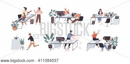 Set Of People Working And Relaxing In Chaos And Mess. Office Workers Conflicting, Sleeping And Hurry