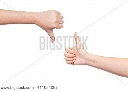 Gesture Of Two Hand Concept Showing Thumb Up And Thumb Down Isolated On White Background. Like And D
