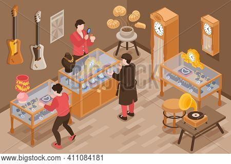 Pawn Shop Isometric Background With Visitors And Jewelry Expert Appraiser Making Appraisal Of Valuab