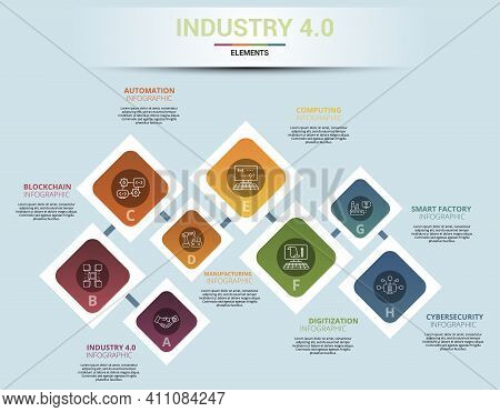 Infographic Industry 4.0 Template. Icons In Different Colors. Include Industry 4.0, Blockchain, Auto
