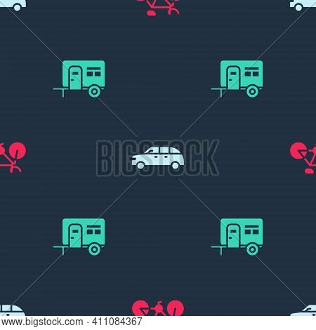 Set Bicycle, Hatchback Car And Rv Camping Trailer On Seamless Pattern. Vector
