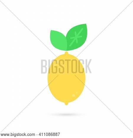 Yellow Citron Or Lemon Icon. Concept Of Simple Emblem Of Citrus And Fruit For Cooling Beach Drink. F