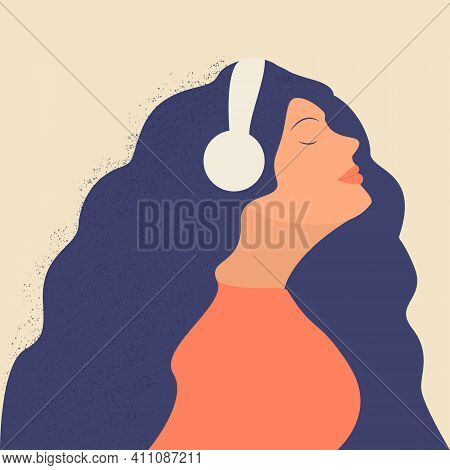 Cute Young Girl Or Woman With Headphones Listening To Music, Radio, Podcast Or Audio Book And Enjoy
