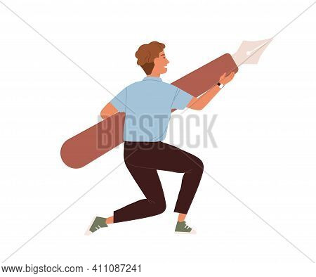 Young Guy Holding Giant Digital Pen Tool From Graphic Editor. Creator Carrying Design Instrument For