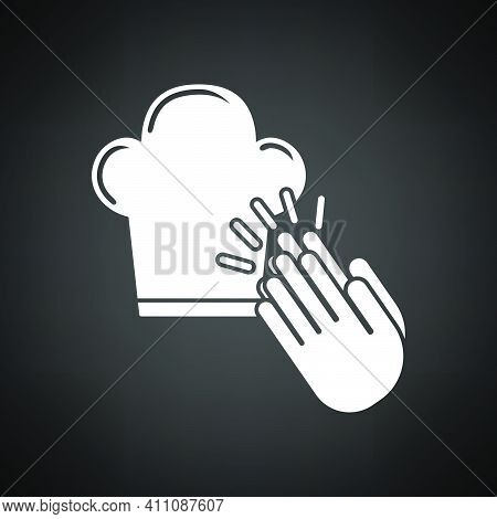 Clapping Palms To Toque Icon. White On Black Background. Vector Illustration.