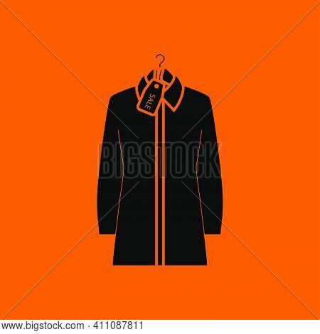 Blouse On Hanger With Sale Tag Icon. Black On Orange Background. Vector Illustration.
