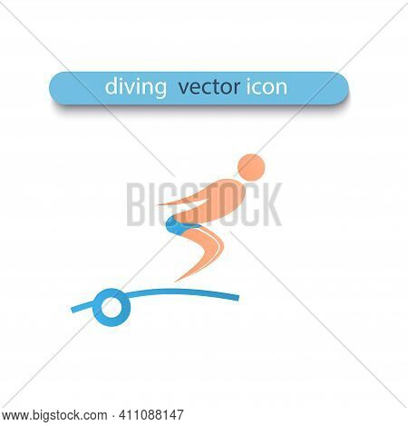 An Athlete Jumps From Diving Board Into The Water. The Athlete Is Tacked And Is Going To Dive. Vecto