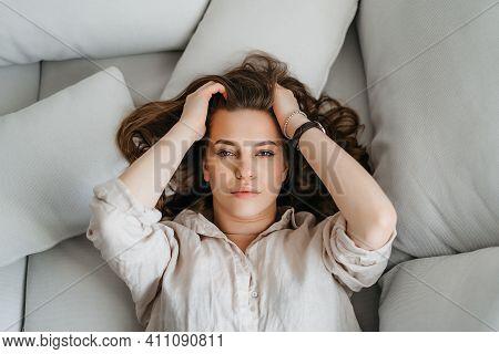 Young Woman Portrait - Headache, Sad, Depression. Portrait Of Sad Beautiful Woman With Headache