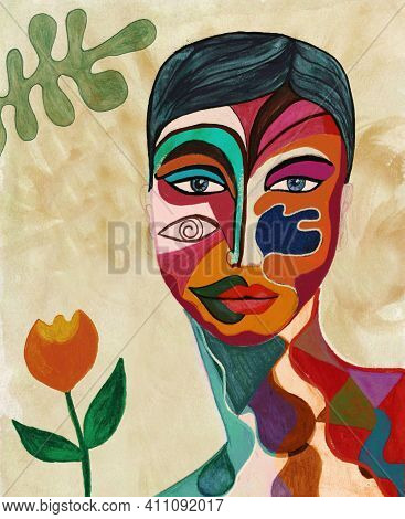 Poster With Portrait Of A Painted Face Of A Woman. Hand Painted Artistic And Surreal Abstract Illust