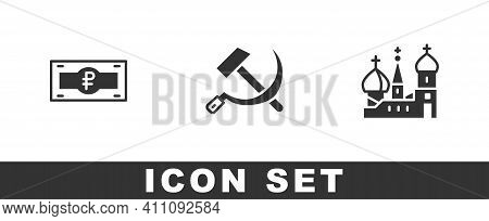 Set Russian Ruble Banknote, Hammer And Sickle Ussr And Saint Basils Cathedral Icon. Vector