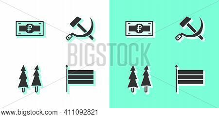 Set National Russia Flag, Russian Ruble Banknote, Christmas Tree And Hammer And Sickle Ussr Icon. Ve