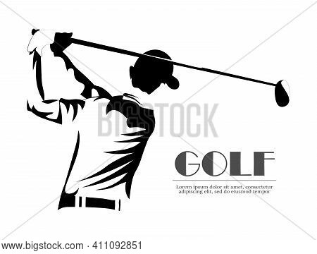Golf Player Vector Logo, Abstract Black. Silhouette Of A Golf Player. Active People, Golf Swing