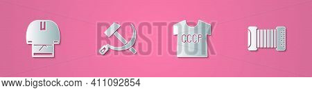 Set Paper Cut Kosovorotka, Hammer And Sickle Ussr, T-shirt And Accordion Icon. Paper Art Style. Vect