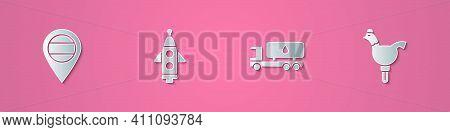 Set Paper Cut Location Russia, Rocket Ship, Tanker Truck And Cockerel Lollipop Icon. Paper Art Style