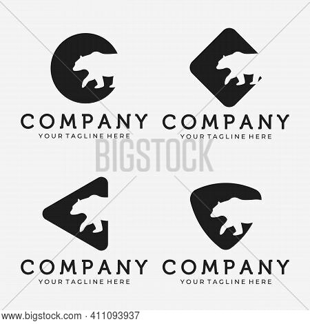 Set Of Bear Outdoor Logo Vector Design Illustration Vintage, Grizzly Bear, Polar Bear, Black Bear