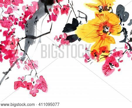 Watercolor And Ink Illustration Of Blossom Sakura Tree With Pink Flowers And Buds. Oriental Traditio