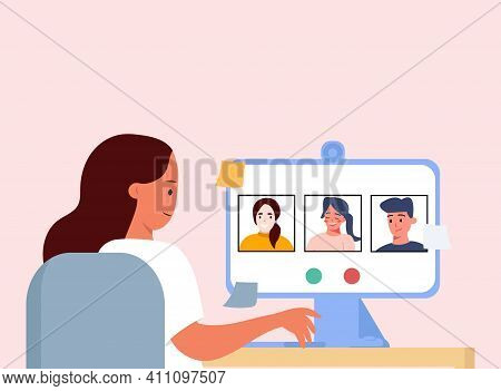 A Young Girl Communicates With Friends And Colleagues Via Video Communication. Working Video Call. O