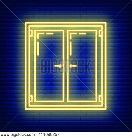 Window Neon Aperture Home Icon, House Renovation Concept Line Flat Vector Illustration, Isolated On