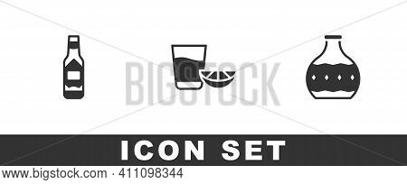 Set Tabasco Sauce, Tequila Glass With Lemon And Bottle Icon. Vector