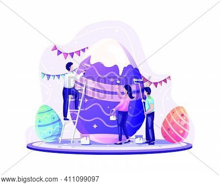 People Celebrate Easter Day By Decorating And Painting Giant Easter Eggs. Vector Illustration
