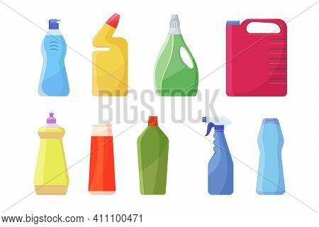 Bleach Containers Set. Colorful Plastic Bottles, Can, Spray For Detergent, Liquid Soap, Chemical Dis