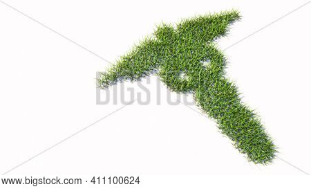 Concept or conceptual green summer lawn grass isolated white background, sign of the caduceus medical symbol. 3d illustration metaphor for emergency, ambulance, hospital pharmacy, health or medicine