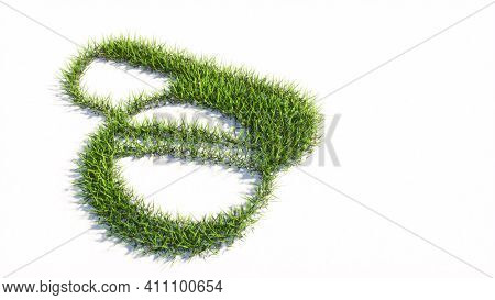 Concept or conceptual green summer lawn grass symbol shape isolated on white background, sign of  medicine pill treatment. A 3d illustration metaphor for medicine, healthcare, pharmaceutical industry