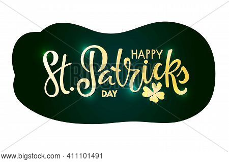 Golden Happy St. Patricks Day Text With Leaf Clover Sticker. Saint Patricks Day Greeting Card Templa