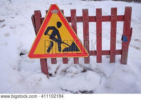 Road Work (roadwork)in Winter. Road Construction, Danger,