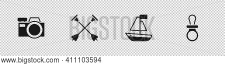 Set Photo Camera, Arrow With Sucker Tip, Toy Boat And Baby Dummy Pacifier Icon. Vector
