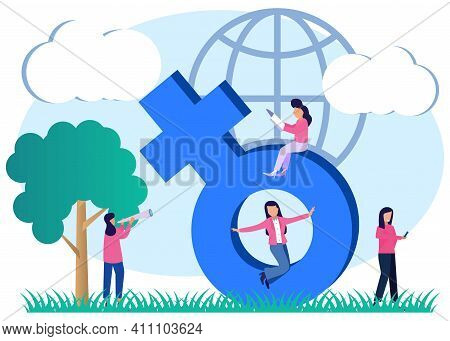 Modern Style Vector Illustration. The Concept Of Women, Emancipation, A Sign Of Feminism, Women's Po