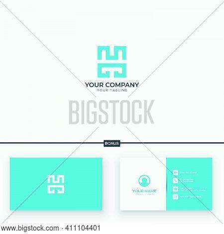 Blue Line Art Modern Letter M H Logo Design