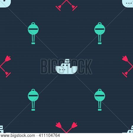 Set Arrow With Sucker Tip, Toy Boat And Rattle Baby Toy On Seamless Pattern. Vector